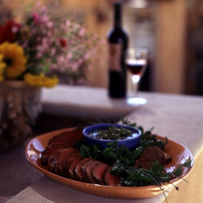 Grilled Beef Tenderloin with Pebre Sauce