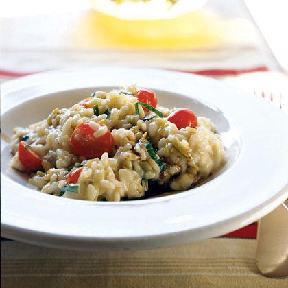 Risotto with Fresh Mozzarella, Grape Tomatoes, and Basil
