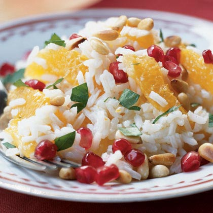 Orange-Basmati Salad with Pine Nuts and Pomegranate Seeds