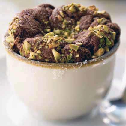 Chocolate Soufflés with Pistachios