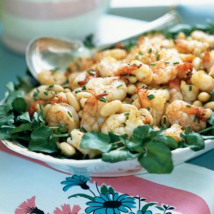 Shrimp and White Bean Salad over Watercress