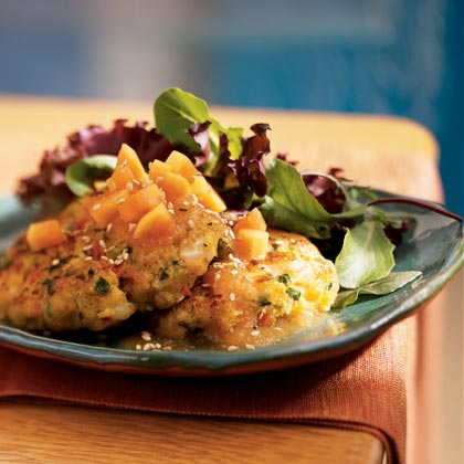 Coconut Curry Shrimp Cakes with Papaya-Lime Sauce