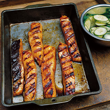 Teriyaki Salmon with Cucumber Salad