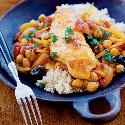 Tilapia with Tomatoes and Garbanzos