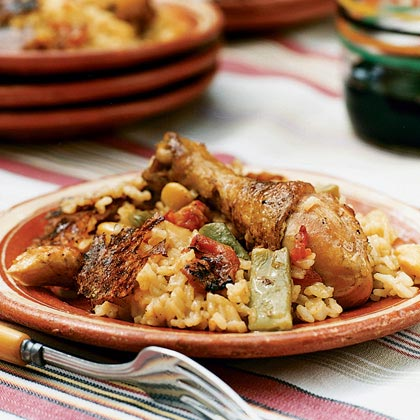Chicken Paella Valenciana from the Barbecue
