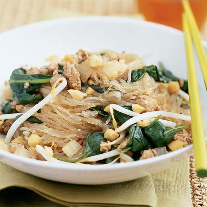 Rice Noodles with Pork, Spinach, and Peanuts
