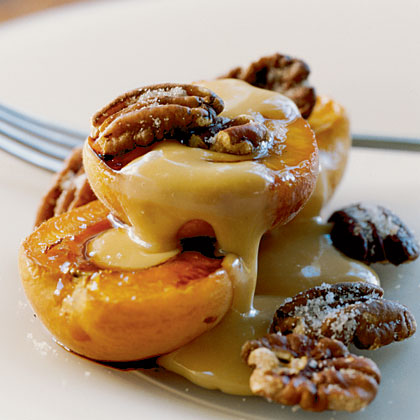 Roasted Apricots with Sugared Pecans and Dulce de Leche