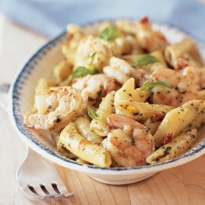 Shrimp and Pasta with Creamy Pesto Sauce