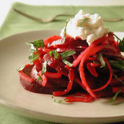 Beet and Red Onion Salad with Ricotta-Provolone Topping