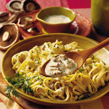 Fettuccine With Portobello-Alfredo Sauce