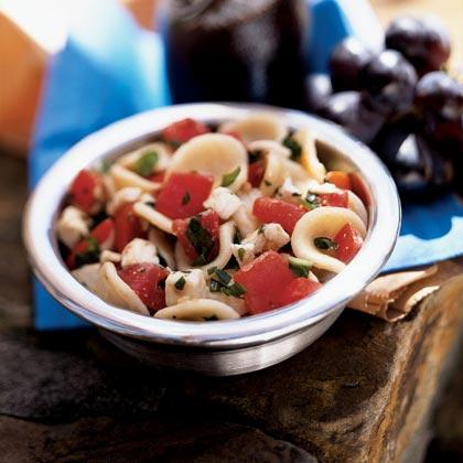 Orecchiette with Tomatoes, Fresh Mozzarella, and Basil