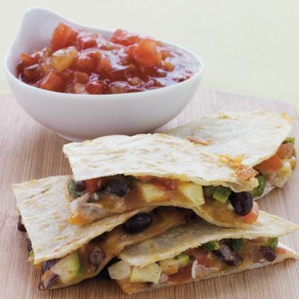 Zucchini, Corn, Black-Bean, and Jack-Cheese Quesadillas
