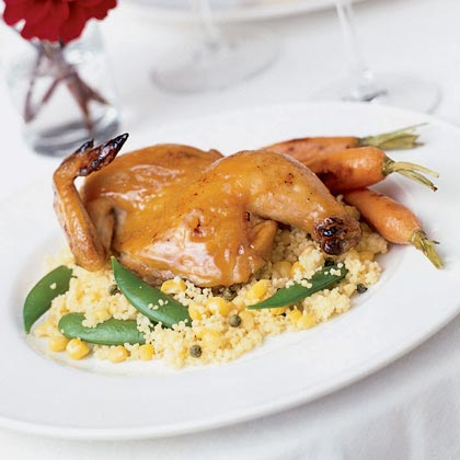 Maple Mustard-glazed Hens with Corn and Pea Couscous