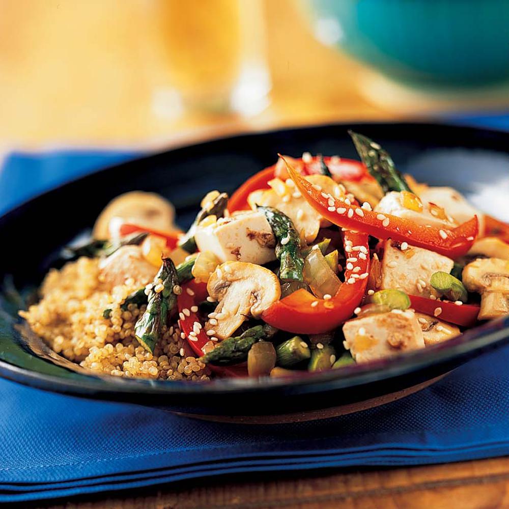 Tofu, Asparagus, and Red Pepper Stir-Fry with Quinoa
