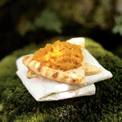 Spicy Red Lentil Dal with Pita Wedges
