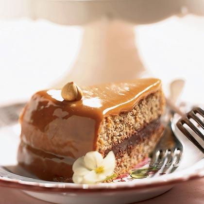 Caramel-Cloaked Chocolate-Hazelnut Torte