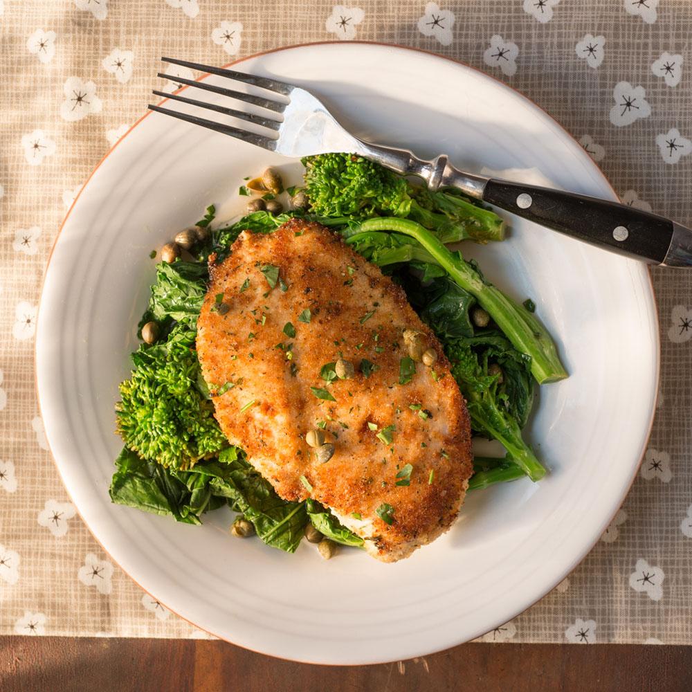 Chicken Scaloppine over Broccoli Rabe
