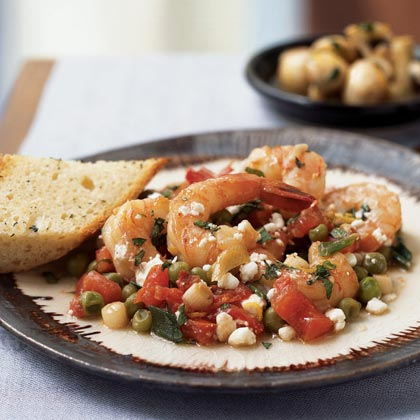 Shrimp with Lemon, Mint, and Goat Cheese