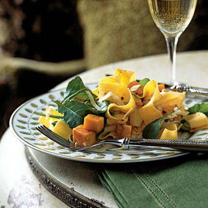 Pappardelle with Roasted Winter Squash, Arugula, and Pine Nuts