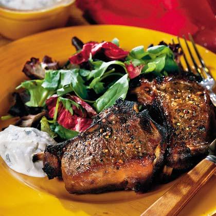 Maple-Glazed Lamb Chops With Zesty Horseradish Sauce