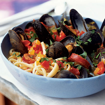 Chorizo-Mussel Noodle Bowl
