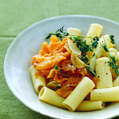 Rigatoni with Sweet Potato, Oregano, and Parmesan