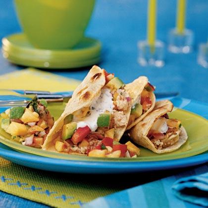 Cumin-spiced Mahi Mahi Tacos with Nectarine-Avocado Salsa