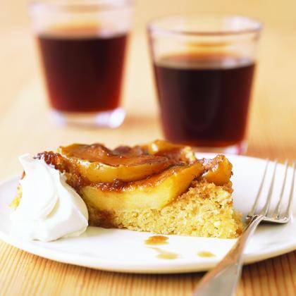 Upside-Down Apple Polenta Cake