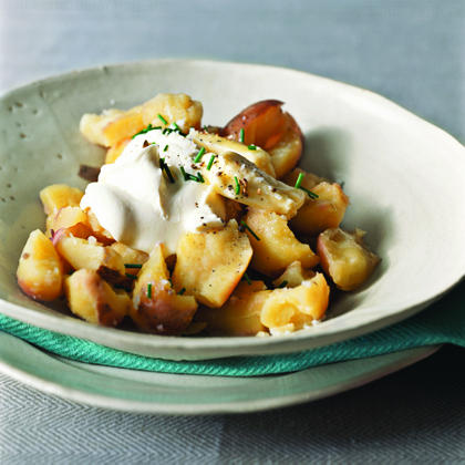 Crushed New Potatoes with Crème Fraîche and Cracked Coriander