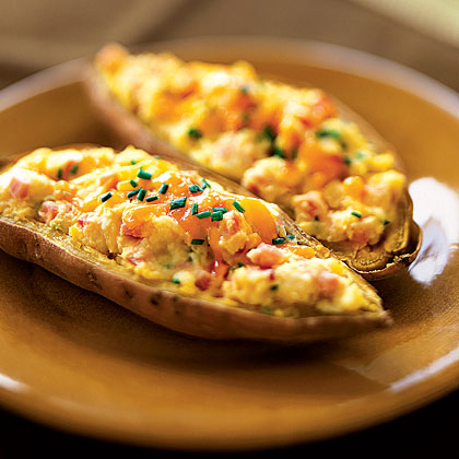 Twice-Baked Sweet Potatoes With Bacon and Sour Cream