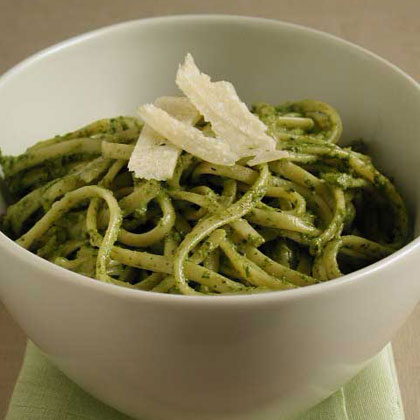 Pasta with Basil, Arugula, and Walnut Pesto