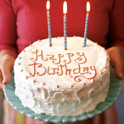 White Birthday Cake with Italian Meringue Icing