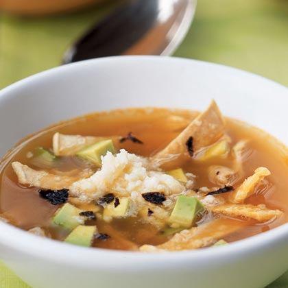 Tortilla Soup with Dried Chile, Fresh Cheese, and Avocado