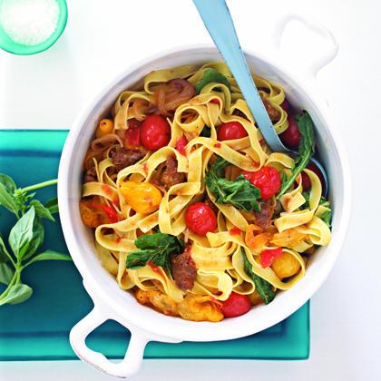 Hot Italian Sausage and Tomato Pasta