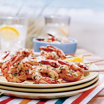 Lemon-Garlic Shrimp Skewers