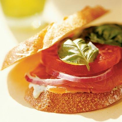 Smoked-Salmon, Tomato, and Basil Sandwich