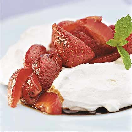 Strawberry-Topped Pavlovas with Honey-Balsamic Sauce