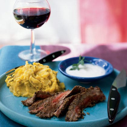 Marinated Flank Steak with Horseradish Raita