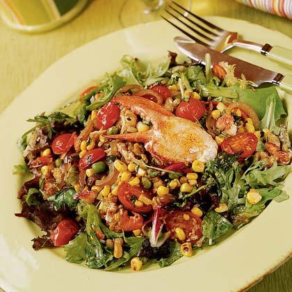 Warm Lobster Salad with Pan-roasted Corn, Peas, Basil, and Shallot Vinaigrette