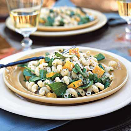 Cavatappi Pasta Salad with Walnut-Sage Pesto