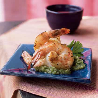 Black Pepper Shrimp with Coriander-Coconut Chutney