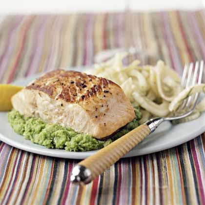 Seared Salmon on Herbed Mashed Peas