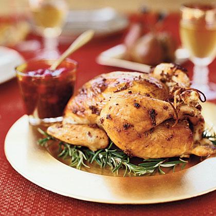 Rosemary Garlic Roast Chicken With Pecan Cranberry Chutney