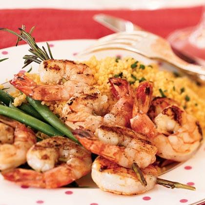 Rosemary Shrimp Scampi Skewers