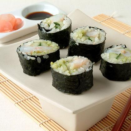 Avocado and Shrimp Sushi