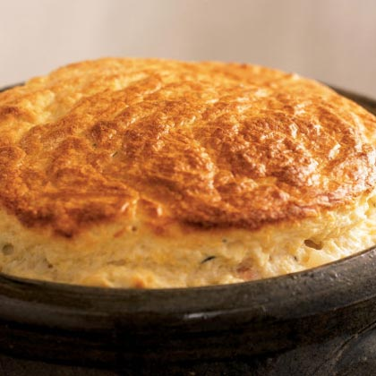 Ham and Two-Cheese Spoon Bread