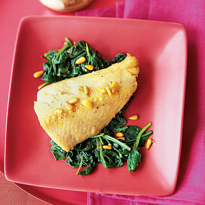 Cod With Pine Nut Brown Butter and Garlicky Spinach