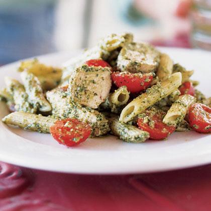 Cilantro-Serrano Pesto with Grilled Chicken and Penne