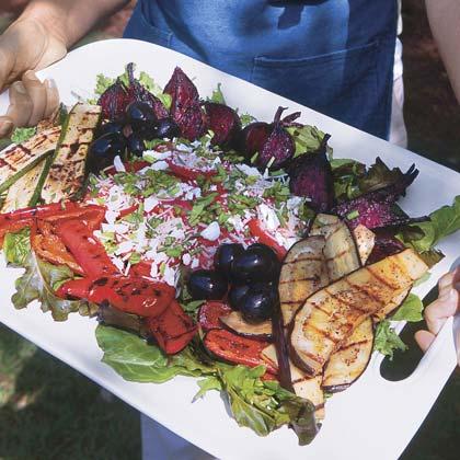 Herbed Salad With Grilled Balsamic Vegetables