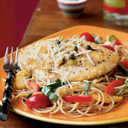Chicken Piccata with Summer Vegetable Pasta